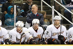 November 9, 2010; San Jose, CA, USA;  Anaheim Ducks head coach Randy Carlyle on the bench against the San Jose Sharks during the second period at HP Pavilion. Mandatory Credit: Jason O. Watson / US PRESSWIRE