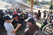 Many of Cam's friends have started to arrive and gather around the family during breaks. Day in the life of Cam Zink as he prepares for the Mammoth Backflip for World of X Games at Mammoth Mountain, CA. © Brett Wilhelm