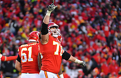 Jan 19, 2020; Kansas City, Missouri, USA; KKansas City Chiefs offensive tackle Eric Fisher (72) celebrates after a play during the game against the Tennessee Titans at Arrowhead Stadium. Mandatory Credit: Denny Medley-USA TODAY Sports