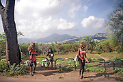 Palermo, ragazze africane che si prostituiscono lungo i viali del parco della Favorita.<br /> Palermo, African girls working as prostitutes within Favorita park