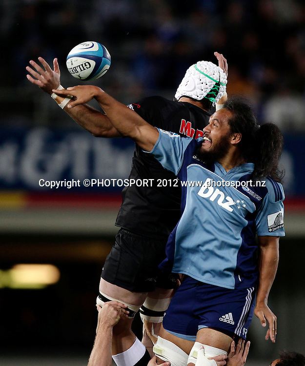 Liaki Moli of the Blues challenges for a lineout during the Super Rugby game between The Blues and The Sharks at Eden Park, Auckland New Zealand, Friday 13 April 2012. Photo: Simon Watts / photosport.co.nz