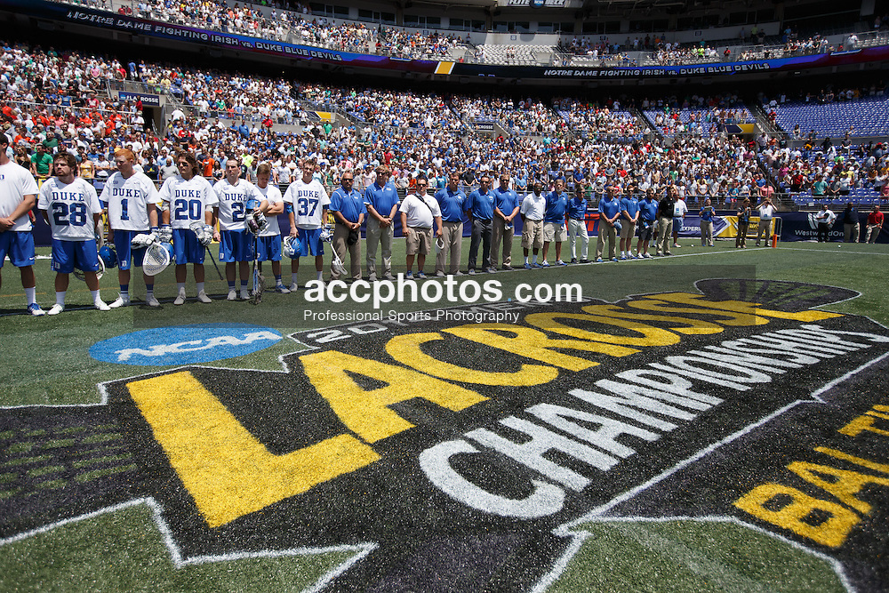 2014 May 26: Duke Blue Devils lacrosse during an 11-9 win over the Notre Dame Irish to win the NCAA D1 lacrosse championship at M&T Bank Stadium in Baltimore, MD.