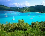 6201-1004 ~ Copyright: George H. H. Huey ~ Maho Bay with boats at anchor. St. John Island. Virgin Islands National Park. U.S. Virgin Islands.
