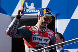 October 28, 2018 - Phillip Island, VIC, U.S. - PHILLIP ISLAND, VIC - OCTOBER 28: Ducati Team rider Andrea Dovizioso (4) on the podium in third place at The 2018 Australian MotoGP on October 28, 2018, at The Phillip Island Circuit in Victoria, Australia. (Photo by Speed Media/Icon Sportswire) (Credit Image: © Steven Markham/Icon SMI via ZUMA Press)
