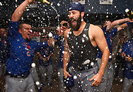 PITTSBURGH, PA - OCTOBER 7:  Jake Arrieta #49 of the Chicago Cubs celebrates after defeating the Pittsburgh Pirates 4-0 in the National League Wild Card Game on Wednesday, October 7, 2015 at PNC Park in Pittsburgh, Pennsylvania. (Photo by Joe Sargent/MLB Photos via Getty Images) *** Local Caption *** Jake Arrieta