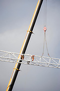 The erection of a crane that will construct the King's College Hospital helipad on Denmark Hill, south London. King's is home to the largest Major Trauma Centre in the South of England. It is also the 'hub' for the South East London, Kent and Medway (SELKaM) major trauma network, which covers 5.5 million people, or 7.8% of the UK population. The trauma team at King's regularly feature in the Channel 4 documentary series '24 Hours in A&E', which is filmed at the hospital.