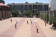 "An ariel view of the drill hall in downtown Johannesburg on 23 October 2009. Children from the inner city schools and more recently street kids use the space to play soccer. Despite the concrete surface and the small space, the children are enthusiastic and energetic as they play.  According to the UN Convention on the Rights of the Child children have the ""right to engage in play and recreational activities."" The Johannesburg Child Welfare in partnership with ' A Chance to Play'; a project supported by the Volkswagen Group Works council Society work together to ensure that children engage in some form of play."