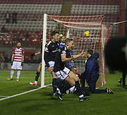 27th January 2018, SuperSeal Stadium, Hamilton, Scotland; Scottish Premiership football, Hamilton Academical versus Dundee; Dundee's A-Jay Leitch-Smith celebrates after scoring a 98th minute winner for 2-1