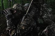 """Stalking a turkey from the woodline late in the turkey season..""""The Spring Gobbler"""" turkey hunting season in Augusta County, Virginia with Max Rowe, 42, of the Cable TV hunting programme """"Just Kill'n Time TV"""", and Freddy McGuire, who, according to Max, is """"the best Turkey hunter I know""""..The turkey season starts in mid-April and lasts for six weeks."""