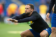 Leicester City midfielder Danny Drinkwater (4) warms up during the Premier League match between Leicester City and Stoke City at the King Power Stadium, Leicester, England on 1 April 2017. Photo by Jon Hobley.