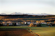 the snow capped mountains of the Pyrenees seen from France Languedoc Aude Razes