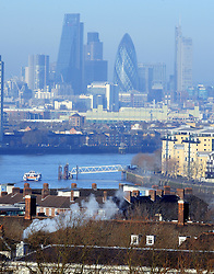 © Licensed to London News Pictures. 29/12/2014 <br /> A  view across London from Greenwich Park,Greenwich.<br /> Cold but sunny weather today (29.12.2014)  in Greenwich Park,London.<br /> (Byline:Grant Falvey/LNP)