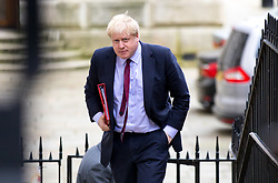 © Licensed to London News Pictures. 29/01/2018. London, UK. Foreign and Commonwealth Secretary Boris Johnson arriving in Downing Street to attend a Brexit meeting this morning. Photo credit : Tom Nicholson/LNP