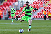 Forest Green Rovers Carl Winchester(7) shoots at goal during the EFL Sky Bet League 2 match between Exeter City and Forest Green Rovers at St James' Park, Exeter, England on 27 October 2018.