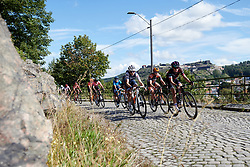 Audrey Cordon-Ragot (FRA) and Kasia Niewiadoma (POL) charge across the cobbles in Halden during Ladies Tour of Norway 2019 - Stage 4, a 154 km road race from Svinesund to Halden, Norway on August 25, 2019. Photo by Sean Robinson/velofocus.com