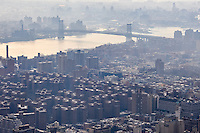 US, New York City. View from the Empire State Building observation deck. Williamsburg Bridge.