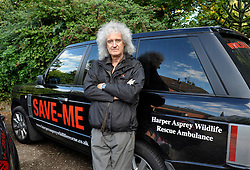 © Licensed to London News Pictures. 06/09/2013. Newent, Gloucestershire, UK. Brian May visits the badger culling zone in West Gloucestershire to lend support to the campaign against the cull.  Brian is an outspoken opponent of the badger cull and has a charity called Save Me.  The Government has licensed a pilot badger cull as part of efforts to reduce boving turberculosis in cows on farms.  06 September 2013.<br /> Photo credit : Simon Chapman/LNP