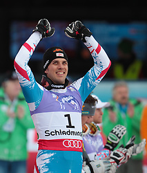 17.02.2013, Planai, Schladming, AUT, FIS Weltmeisterschaften Ski Alpin, Slalom, Herren, 2. Durchgang, im Bild Mario Matt (AUT, 3. Platz) // 3th place Mario Matt of Austria reacts after 2nd run of the mensSlalom at the FIS Ski World Championships 2013 at the Planai Course, Schladming, Austria on 2013/02/17. EXPA Pictures © 2013, PhotoCredit: EXPA/ Johann Groder