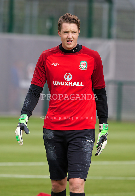 NEWPORT, WALES - Monday, August 12, 2013: Wales' goalkeeper Wayne Hennessey training at the FAW National Development Centre at Dragon Park ahead of the International friendly against the Republic of Ireland. (Pic by David Rawcliffe/Propaganda)