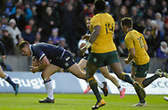 No Sales, Syndication or Archive <br /> <br /> Autumn Tests<br /> Scotland v Australia Saturday 25th November 2017, BT Murrayfield, Edinburgh.<br /> <br /> Huw Jones of Scotland scores another try in the Autumn tests<br /> <br /> <br />  Neil Hanna Photography<br /> www.neilhannaphotography.co.uk<br /> 07702 246823