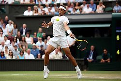 Rafael Nadal in action on day twelve of the Wimbledon Championships at the All England Lawn Tennis and Croquet Club, Wimbledon. PRESS ASSOCIATION Photo. Picture date: Saturday July 14, 2018. See PA story TENNIS Wimbledon. Photo credit should read: Steven Paston/PA Wire. RESTRICTIONS: Editorial use only. No commercial use without prior written consent of the AELTC. Still image use only - no moving images to emulate broadcast. No superimposing or removal of sponsor/ad logos. Call +44 (0)1158 447447 for further information.