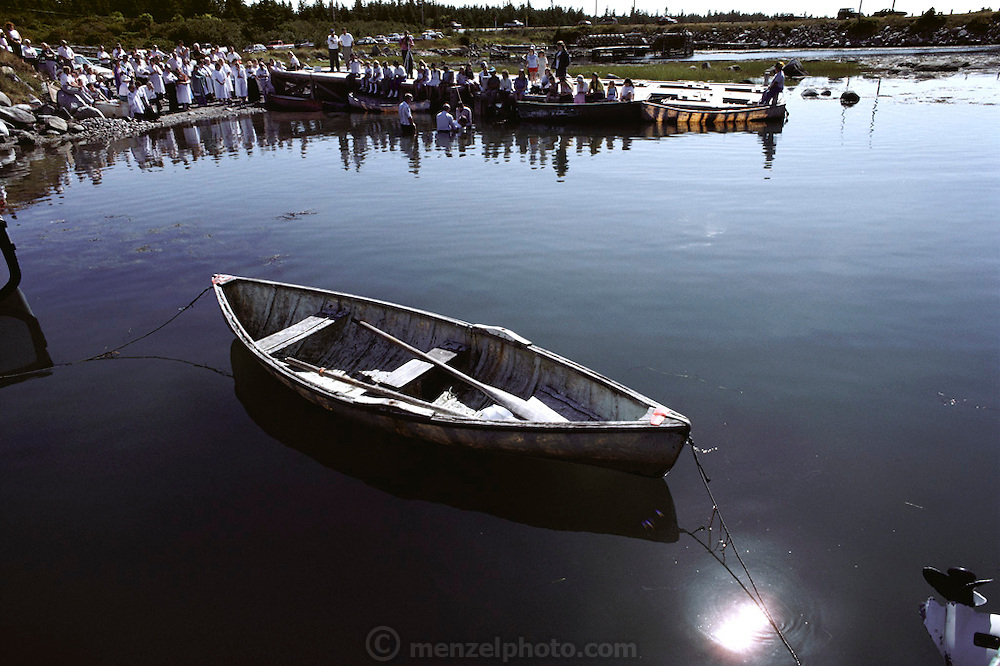 A Baptism at Clark's Harbor on Cape Sable Island. Nova Scotia, Canada.