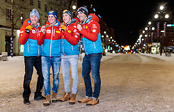 26.02.2017, Lahti, FIN, FIS Weltmeisterschaften Ski Nordisch, Lahti 2017, Nordische Kombination, Team Bewerb, Haus Österreich, im Bild Bronzemedaillengewinner Team Österreich Bernhard Gruber, Paul Gerstgraser, Mario Seidl, Philipp Orter // Bronzemedaillengewinner Team Austria Bernhard Gruber Paul Gerstgraser Mario Seidl Philipp Orter celebrate after the Medal Ceremony of Nordic Combined Team Event of FIS Nordic Ski World Championships 2017. Lahti, Finland on 2017/02/26. EXPA Pictures © 2017, PhotoCredit: EXPA/ JFK