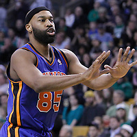 04 March 2012: New York Knicks point guard Baron Davis (85) calls for the ball during the Boston Celtics 115-111 (OT) victory over the New York Knicks at the TD Garden, Boston, Massachusetts, USA.