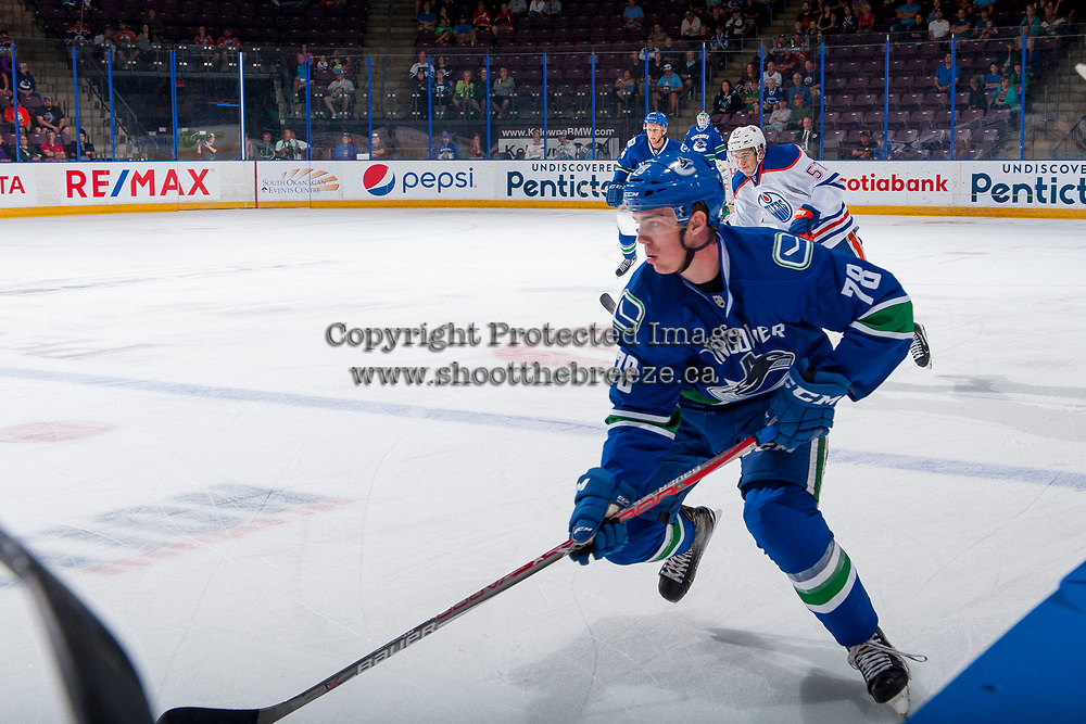 PENTICTON, CANADA - SEPTEMBER 11: Kole Lind #78 of Vancouver Canucks skates with the puck against the Edmonton Oilers on September 11, 2017 at the South Okanagan Event Centre in Penticton, British Columbia, Canada.  (Photo by Marissa Baecker/Shoot the Breeze)  *** Local Caption ***