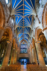 Looking up at ceiling of St Giles Cathedral in Edinburgh, Scotland, United Kingdom