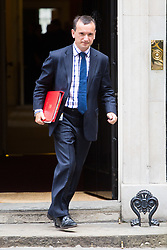 London, July 4th 2017. Welsh Secretary Alun Cairns leaves the weekly cabinet meeting at 10 Downing Street in London.