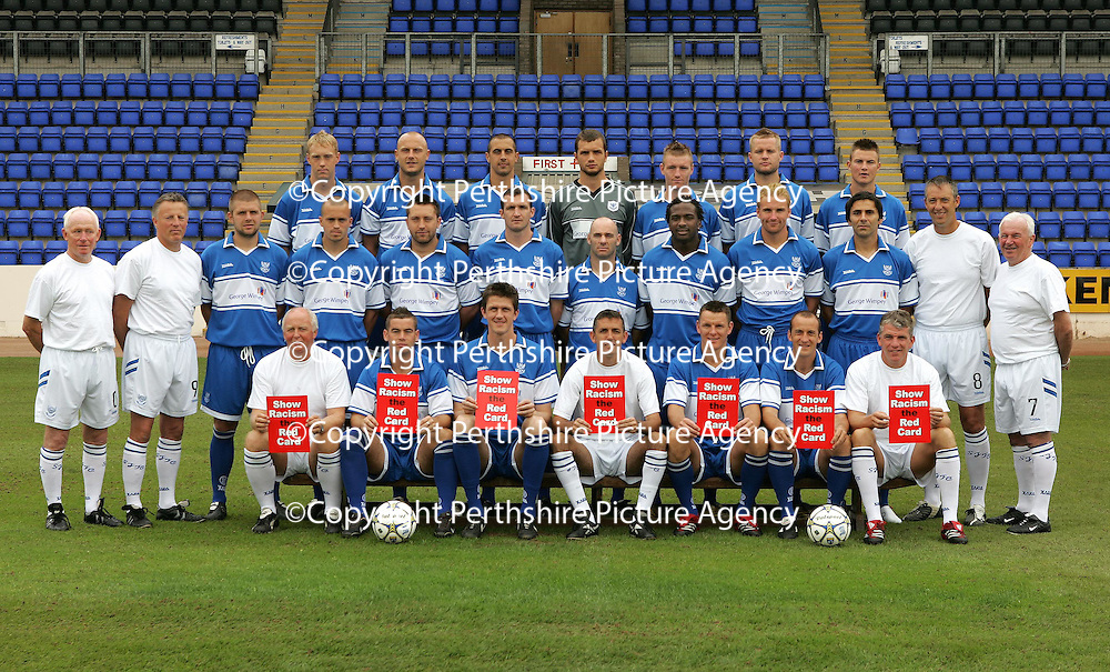 St Johnstone Photocall 2006-07<br />Back row from left, Steven Anderson, Simon Mensing, Allan McManus, Kevin Cuthbert, Andy Jackson, Kevin Rutkiewicz and Willie Dyer.<br />Middle Row from left, Jocky Peebles (Asst Physio), Nick Summersgill (Physio), Neil Janczyk, Steven Milne, Stephen Dobbie, Andy Lawrie, Darren Sheridan, Jason Scotland, Ryan Stephenson, Goran Stanci, Jim McQueen (Goalkeeping Coach) and Tommy Campbell (Youth Development Manager)<br />Front Row from left, Atholl Henderson (coach), Peter MacDonald, Kevin James, Owen Coyle (Manager), Martin Hardie, Paul Sheerin and Jim Weir (Asst Manager).<br />see story by Gordon Bannerman Tel: 01738 553978 or 07729 865788<br />Picture by Graeme Hart.<br />Copyright Perthshire Picture Agency<br />Tel: 01738 623350  Mobile: 07990 594431