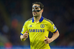 LEICESTER, ENGLAND - Wednesday, April 29, 2015: Chelsea's Cesc Fabregas, wearing a protective face mask, in action against Leicester City during the Premier League match at Filbert Way. (Pic by David Rawcliffe/Propaganda)