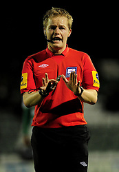 Referee, Gavin Wood - Photo mandatory by-line: Dougie Allward/JMP  - Tel: Mobile:07966 386802 04/12/2012 - SPORT - FOOTBALL - Johnstone's Paint Trophy  -  Yeovil  -  Huish Park  -  Yeovil Town V Wycombe Wanderers