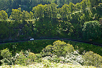 A view looking down on the Hana Highway on North Maui, Hawaii
