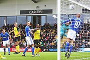 Burton Albion's Ben Turner heads a goal to make the score 1-0 during the EFL Sky Bet Championship match between Burton Albion and Ipswich Town at the Pirelli Stadium, Burton upon Trent, England on 28 October 2017. Photo by John Potts.