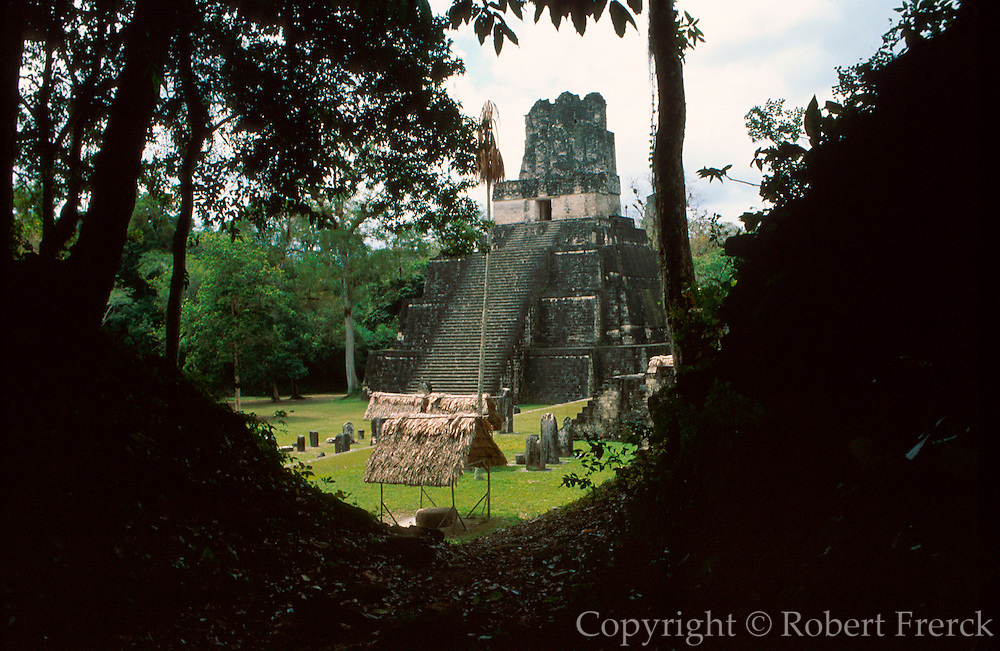 GUATEMALA, MAYA, TIKAL Great Plaza and Temple II, 125' high