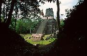 GUATEMALA, MAYA, TIKAL Great Plaza and Temple II, 125' high