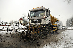 © under license to London News Pictures.2.12.2010 Bromley Borough highways snow plough clearing the road  in Orpington Kent.. Picture credit should read Grant Falvey/London News Pictures