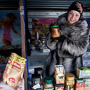 A street vendor sells borscht outside Kiev, the capital of Ukraine. Borsht is a traditional Ukrainian cuisine that has spreaded via Russia throughout the former Soviet sphere.