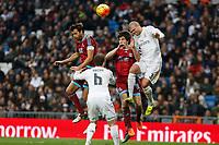 Real Madrid´s Pepe and Real Sociedad´s Xabi Prieto and Elustondo during La Liga match between Real Madrid and Real Sociedad at Santiago Bernabeu stadium in Madrid, Spain. December 30, 2015. (ALTERPHOTOS/Victor Blanco)