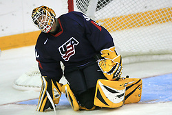 Goalkeeper Tim Thomas at ice-hockey match USA vs Slovenia at Preliminary Round (group B) of IIHF WC 2008 in Halifax, on May 04, 2008 in Metro Center, Halifax, Nova Scotia, Canada. (Photo by Vid Ponikvar / Sportal Images)