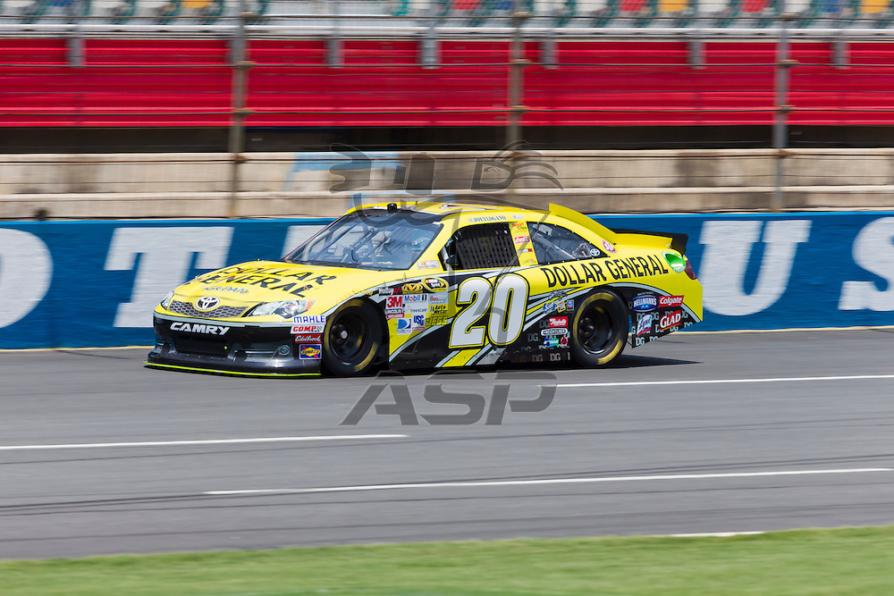 CONCORD, NC - MAY 26, 2012:  Joey Logano (20) brings his Dollar General Toyota on the track for a practice session for the Coca-Cola 600 at the Charlotte Motor Speedway in Concord, NC.