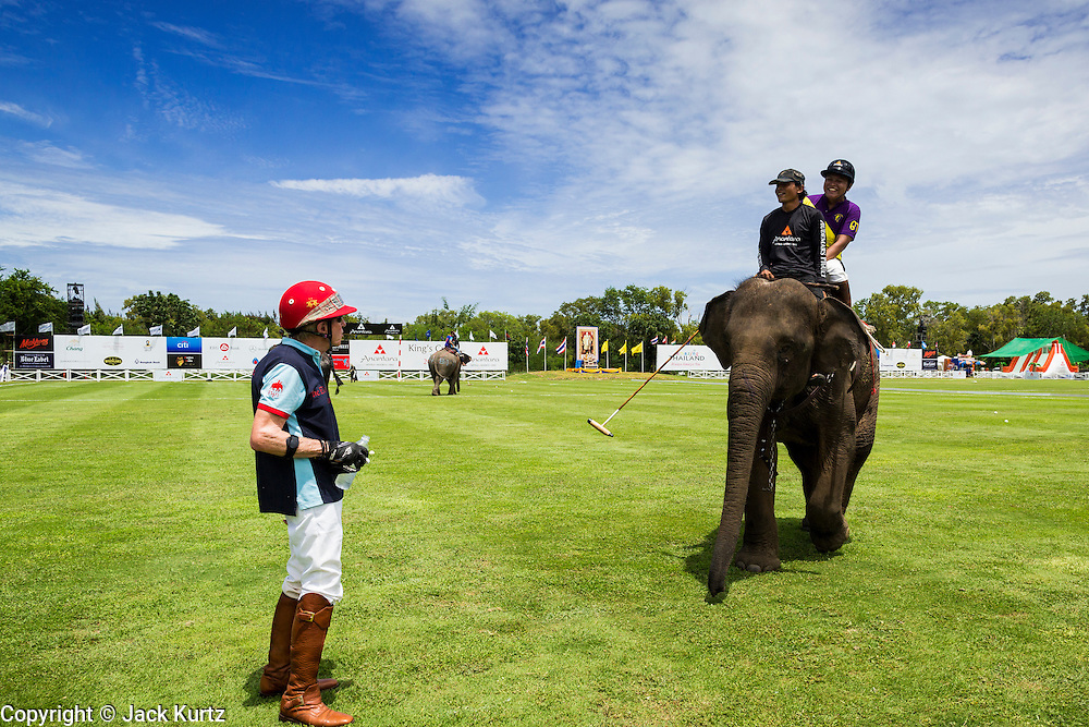 """28 AUGUST 2013 - HUA HIN, PRACHUAP KHIRI KHAN, THAILAND:  ED STORY, from Comfort, TX, LEFT, talks to a player atop an elephant at the King's Cup Elephant Polo Tournament in Hua Hin, Thailand. The tournament's primary sponsor in Anantara Resorts and the tournament is hosted by Anantara Hua Hin. This is the 12th year for the King's Cup Elephant Polo Tournament. The sport of elephant polo started in Nepal in 1982. Proceeds from the King's Cup tournament goes to help rehabilitate elephants rescued from abuse. Each team has three players and three elephants. Matches take place on a pitch (field) 80 meters by 48 meters using standard polo balls. The game is divided into two 7 minute """"chukkas"""" or halves. There are 16 teams in this year's tournament, including one team of transgendered """"ladyboys.""""    PHOTO BY JACK KURTZ"""