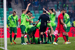 Players of NK Olimpija Ljubljana celebrates during football match between NK Olimpija Ljubljana and NK Maribor in Semifinal of Slovenian Football Cup 2016/17, on April 5, 2017 in SRC Stozice, Ljubljana, Slovenia.  Photo by Ziga Zupan / Sportida