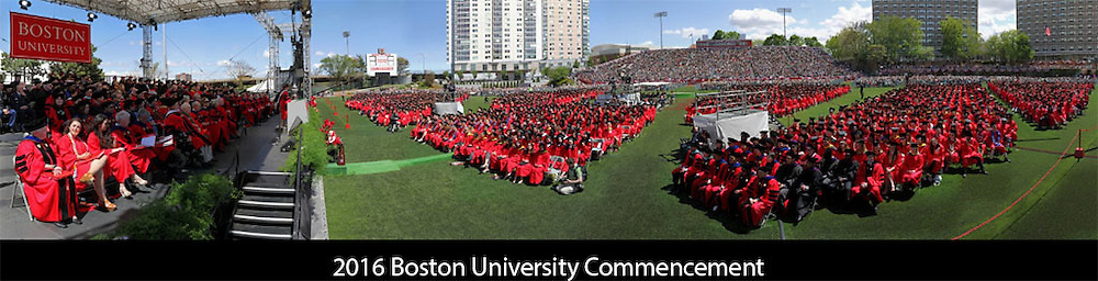 http://www.gigapan.com/gigapans/187406 &lt;&lt;&lt; Mid May I photographed myself and nearly 30,000 students, parents, friends and faculty in Nickerson Field for the 2016 Boston University Commencement. Commencement speaker Nina Tassler delivered an inspiring commencement speech addressing the crowd. The BU Commencement was an amazing event to take this Gigapan panorama photography image off and plenty of fun. The Gigapan system allows to take hundreds or thousands individual pictures and later stitch them in post-processing into a high-resolution picture that provides incredible detail where people present at events can find themselves within the photo using the zoom in and zoom out feature. The image was published with BU Today.<br />