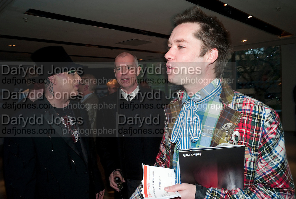 BOY GEORGE; NEIL TENNANT; RUFUS WAINWRIGHT, Prima Donna opening night. Sadler's Wells Theatre, Rosebery Avenue, London EC1, Premiere of Rufus Wainwright's opera. 13 April 2010