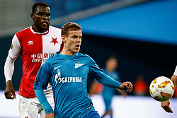 October 4, 2018 - Saint Petersburg, Russia - Aleksandr Kokorin (R) of FC Zenit Saint Petersburg and Michael Ngadeu-Ngadjui of SK Slavia Prague vie for the ball during the Group C match of the UEFA Europa League between FC Zenit Saint Petersburg and SK Sparta Prague at Saint Petersburg Stadium on October 4, 2018 in Saint Petersburg, Russia. (Credit Image: © Mike Kireev/NurPhoto/ZUMA Press)
