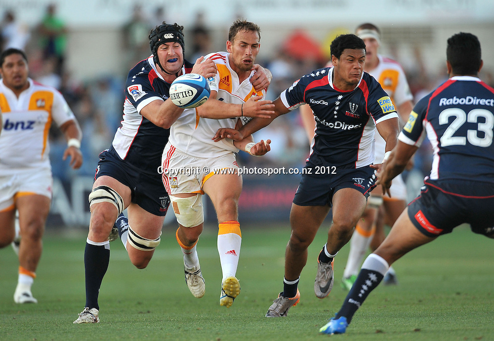 Andrew Horrell (Chiefs)<br /> Rebels vs Chiefs<br /> Rugby Union - 2012 Super Rugby<br /> Simonds Stadium, Geelong<br /> Friday 3 February 2012<br /> &copy; Sport the library / Jeff Crow