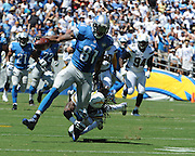 September 13, 2015 - San Diego Chargers Safety Jahleel Addae (37) [18327] takes down Detroit Lions Wide Receiver Calvin Johnson (81) [9383] with a shoestring tackle during the NFL football game between the San Diego Chargers and the Detroit Lions at Qualcomm Stadium in San Diego, California.